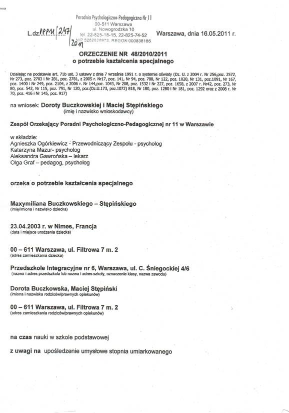 orzeczenie o potrzebie ksztalcenia 2011